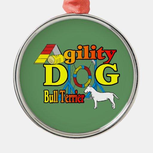 Agilidad de bull terrier adorno redondo plateado