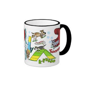 Agilidad del perro del dibujo animado taza