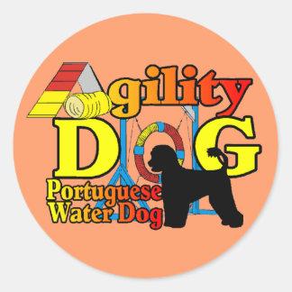 Agilidad portuguesa del perro de agua pegatina redonda