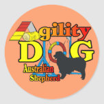 Agility Australian Shepherd Gifts Round Stickers