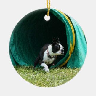 Agility boston terrier ornament