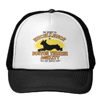 Agility Boston Terrier Secret Trucker Hats