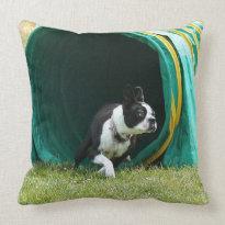 Agility Boston terrier Throw Pillow
