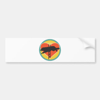 Agility Dog Heart Bumper Sticker