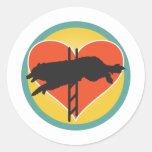 Agility Dog Heart Classic Round Sticker