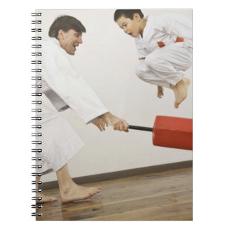 Agility exercise in karate class notebook