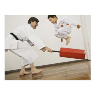 Agility exercise in karate class postcard