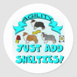 Agility - Just Add Shelties Round Sticker