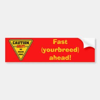 Agility No Brake Zone Bumper Sticker