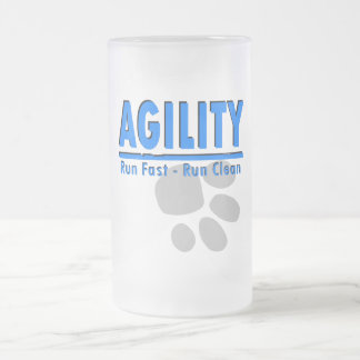 Agility Run Fast - Run Clean Frosted Glass Beer Mug