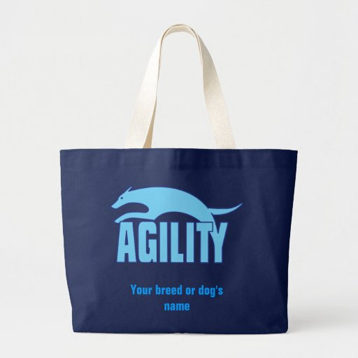 Agility Stylized Design in Blue Large Tote Bag
