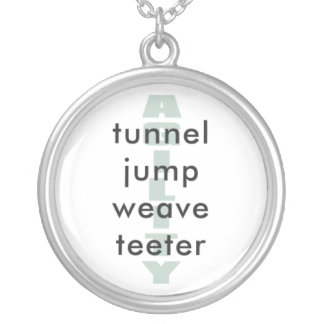 AGILITY, tunnel, jump, weave, teeter Round Pendant Necklace