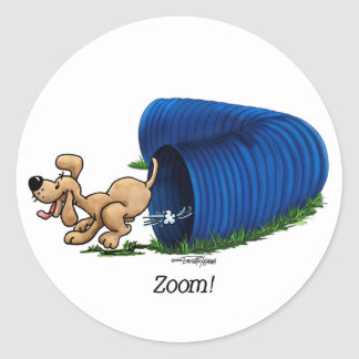 Agility Tunnel - Zoom Classic Round Sticker