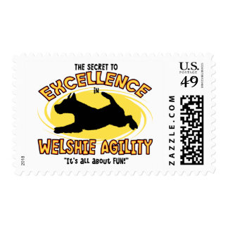 Agility Welsh Terrier Secret Postage Stamps
