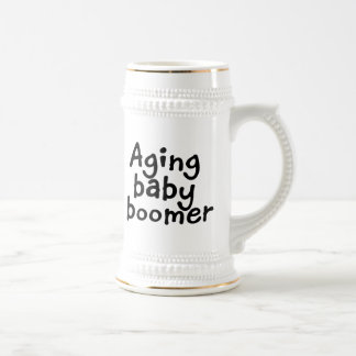 Aging baby boomer beer stein