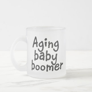 Aging baby boomer frosted glass coffee mug