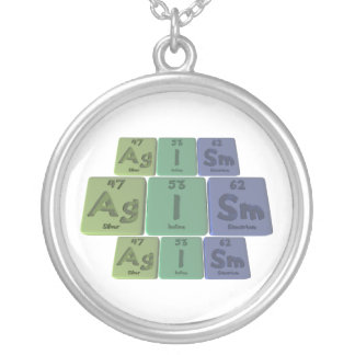 Agism-Ag-I-Sm-Silver-Iodine-Samarium Round Pendant Necklace