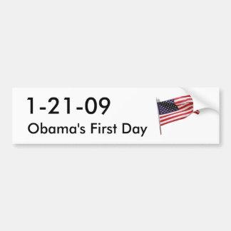 agitar-bandera, 1-21-09, el primer día de Obama Pegatina Para Auto