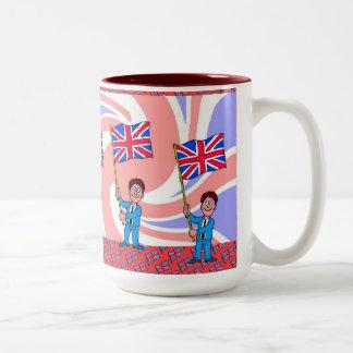 Agite la bandera tazas de café