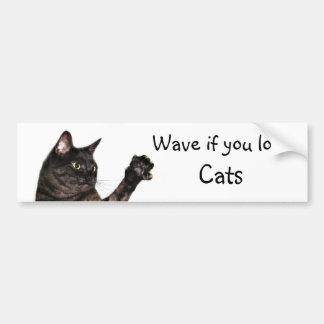 Agite si usted ama gatos pegatina de parachoque