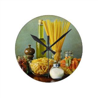 aglio, olio e peperoncino (garlic, oil and chili) round clocks