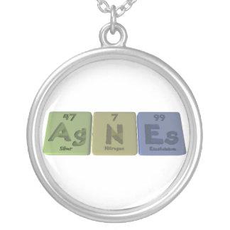 Agnes as Silver Nitrogen Einsteinium Round Pendant Necklace