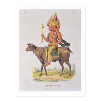 Agni, God of Fire, engraved by Charles Etienne Pie Postcard