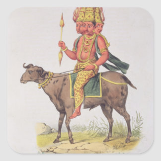 Agni, God of Fire, engraved by Charles Etienne Pie Square Sticker