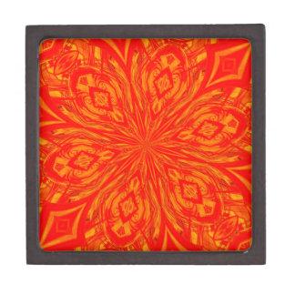 Agolpamiento anaranjado abstracto de 6 pétalos cajas de joyas de calidad