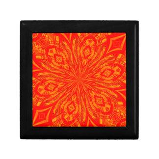 Agolpamiento anaranjado abstracto de 6 pétalos cajas de joyas