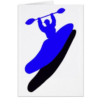 Agolpamiento azul del kajak felicitación