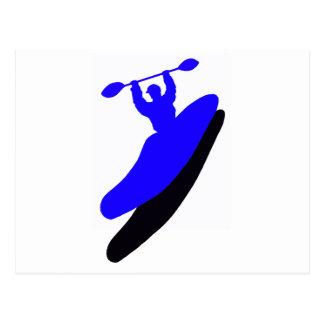 Agolpamiento azul del kajak postal