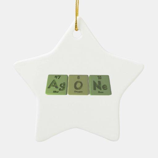 Agone-Ag-O-Ne-Silver-Oxygen-Neon Double-Sided Star Ceramic Christmas Ornament