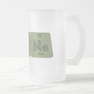 Agone-Ag-O-Ne-Silver-Oxygen-Neon Frosted Glass Beer Mug