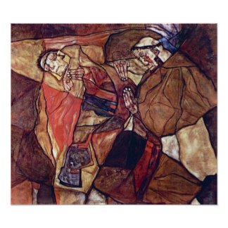 Agony by Egon Schiele, Vintage Expressionism Art Poster