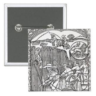 Agosto, del calendario de un pastor pin cuadrado
