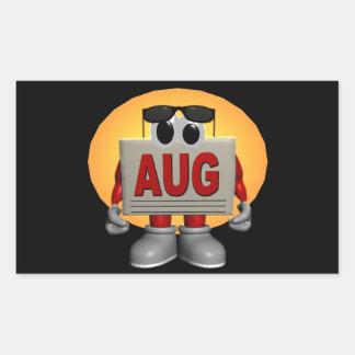 Agosto Rectangular Pegatina