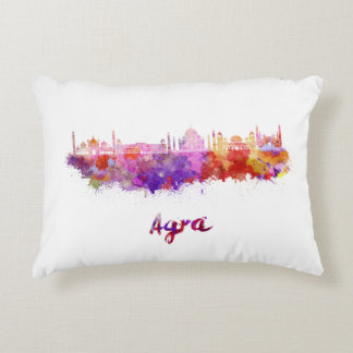 Agra skyline in watercolor accent pillow