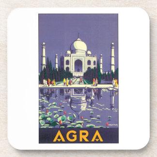 Agra Vintage Travel Poster Beverage Coaster