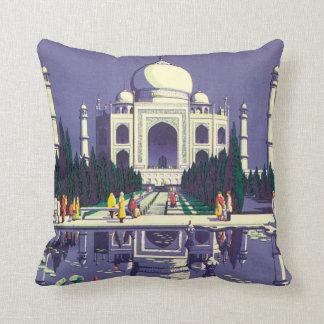 Agra Vintage Travel Poster Throw Pillow