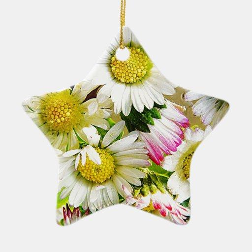 Agradable magnífico lindo de la paz floral del adorno navideño de cerámica en forma de estrella