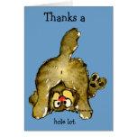 Agradece un gato de la porción entera le agradecen tarjeta de felicitación