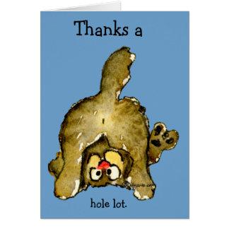 Agradece un gato de la porción entera le agradecen tarjeta