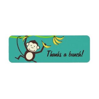 Agradece un manojo, etiquetas del mono etiqueta de remite