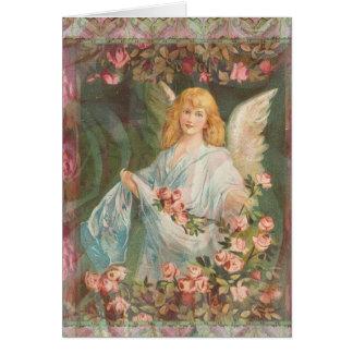 Agradecido - ángel con los rosas tarjeta de felicitación