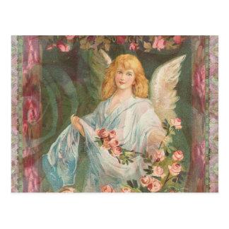 Agradecido - ángel con los rosas tarjeta postal