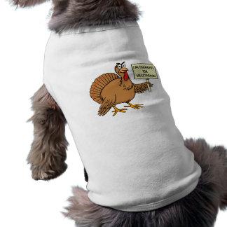 Agradecido para los vegetarianos playera sin mangas para perro