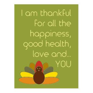 Agradecido para usted postal