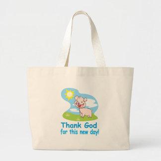 Agradecimiento de dios por este nuevo día con el c bolsa tela grande
