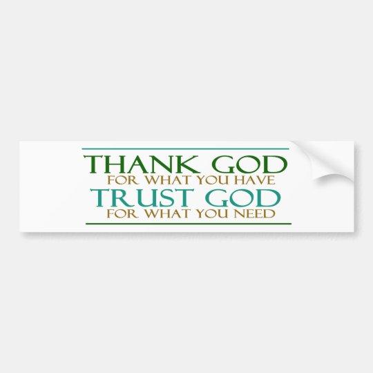 Agradezca a dios de la confianza de dios pegatina para auto